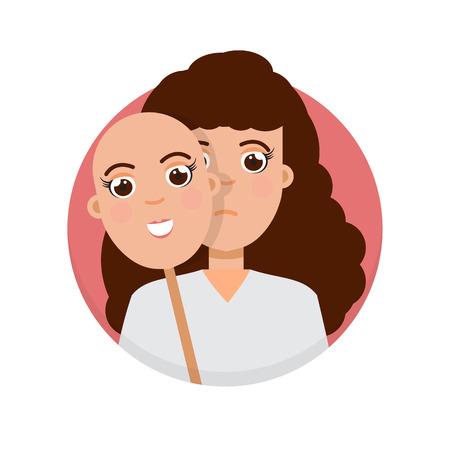Fake emotion concept. Hide under smile mask real sad face. Vector illustration.