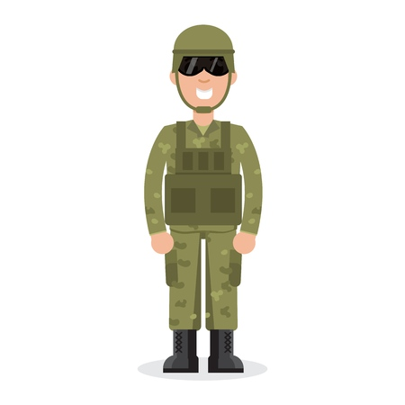 Man US Army soldiers  in camouflage.  Vector illustration.