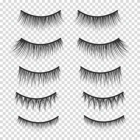 Feminine lashes vector set. False eyelashes hand drawn. Illustration
