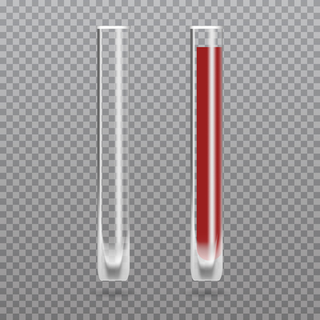 Realistic test-tube with blood. Hematology Vector illustration. Illustration