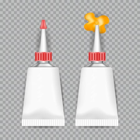 Realistic  White Tubes Glue isolated on transparent background. Vector illustration.