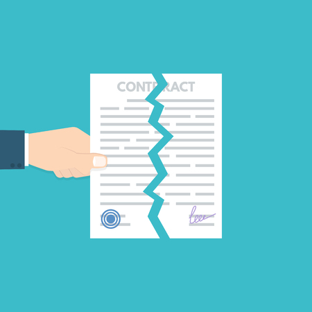 Cancellation or Terminated contract. Disagreement consept. Vector illustration.