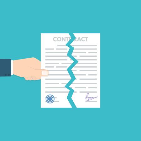 Kündigung oder gekündigter Vertrag. Meinungsverschiedenheiten Vektor-illustration