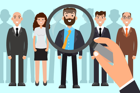 Employer of choice. Business recruitment process, employees group management. Vector illustration.