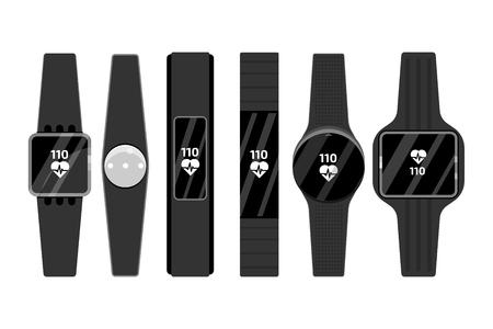 Fitness run tracker band set. Sport bracelet or  wristband. Vector illustration.  일러스트