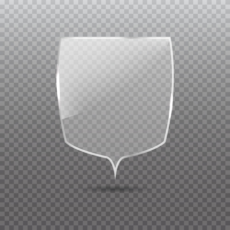 Transparent glass shield. Privacy guard banner.  Protection concept. Vector illustration.