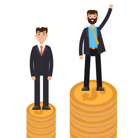 Business difference and discrimination,  man versus man, Inequality concept. Vector illustration. Illustration