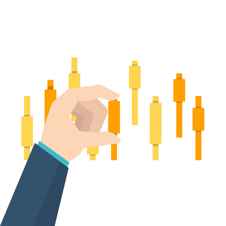 Businessmans hand touch upon  candlestick chart. Vector illustration.