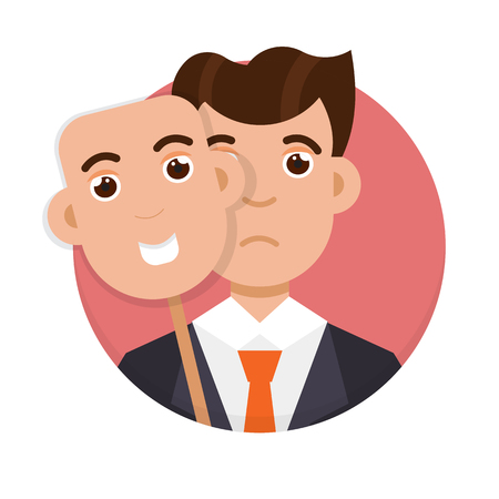 Fake emotion concept. Hide under smile mask real sad face. Vector illustration.