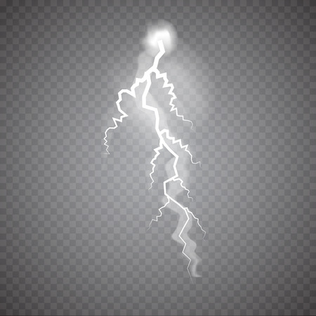 Realistic thunderstorm Lightning, effect of electrical discharge. Vector Illustration