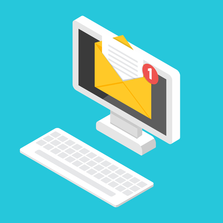 Get email concept.  Isometric Desktop with notification. Vector illustration.