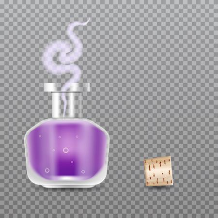 Realistic Chemistry glass bottles of potion. Love potion. Vector illustration.