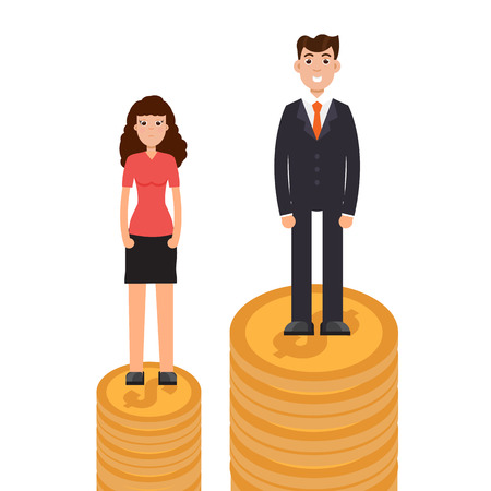 Gender gap, business difference and discrimination,  man versus woman, Inequality concept. Vector illustration. Stock Illustratie