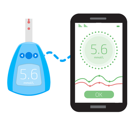 Cholesterol Meter and smartphone app. User interface. Vector illustration.