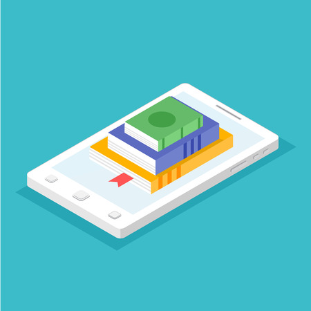 Digital online book store, library, e-reading concept.  Vector illustration in flat style. Illustration