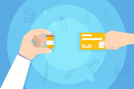 Medications Purchase, Buying medicine. Hand with credit card. Vector illustration