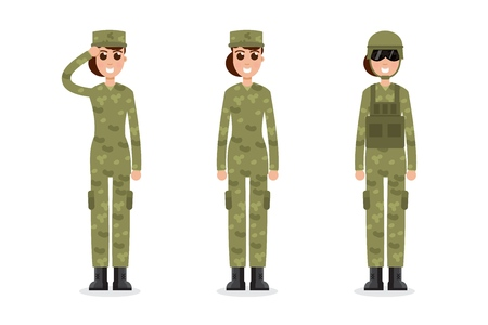 Woman US Army soldiers  in camouflage.  Vector illustration. Vettoriali