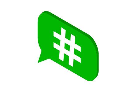 Hashtag green bubble isometric icon. Vector illustration.