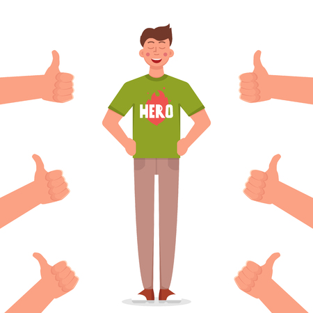 Proud man with many thumbs up hands. Vector illustration.