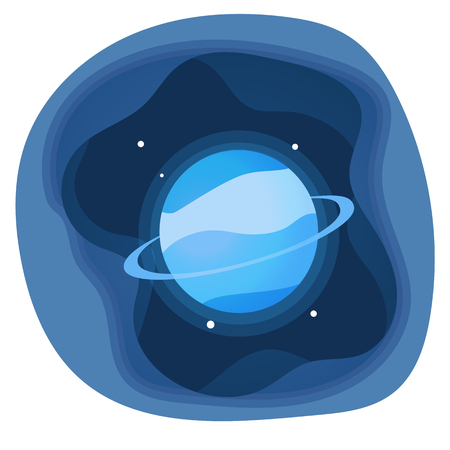 Paper cut shapes Uranus Planet of the solar system icon. Vector illustration.