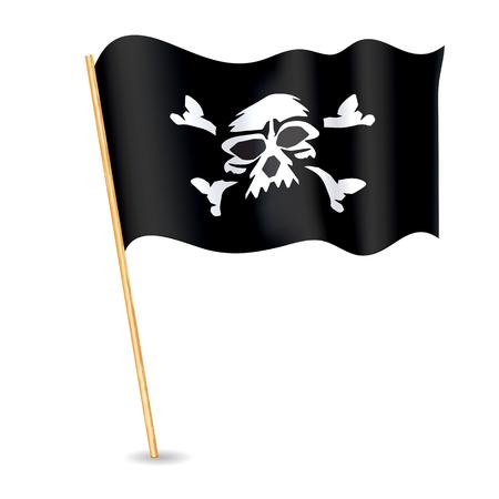 Jolly roger Pirate flag with a skull. Vector illustration. Illustration