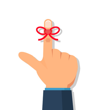 Businessmans hand with Reminder string  on finger. Vector illustration.