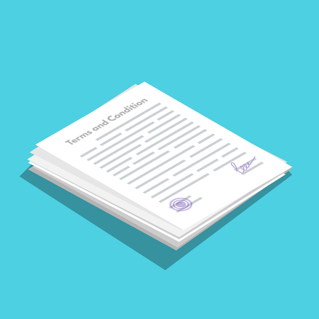 Terms And Conditions icometric icon.  Document paper, contract. Vector illustration in flat style. 일러스트