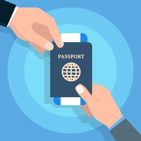 Hand Holding Passport.  Travel and tourism and personal identification concept. Vector illustration. 矢量图像