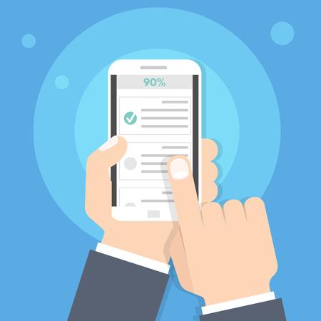 Cuestionario, examen, encuesta o lista de verificación en línea. Lista de exámenes. Concepto de e-educación. Ilustración de vector. Ilustración de vector