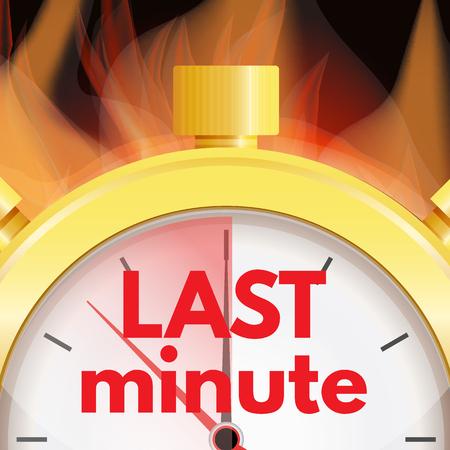 Last minute, deadline concept. Faste time logo. Vector illustration.