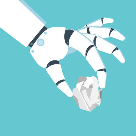 Robot hand holding a crumpled paper sheet. Vector illustration in flat style. Ilustrace