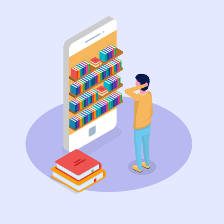 Library mobile online isometric concept. Micro people reading books. Vector illustration.