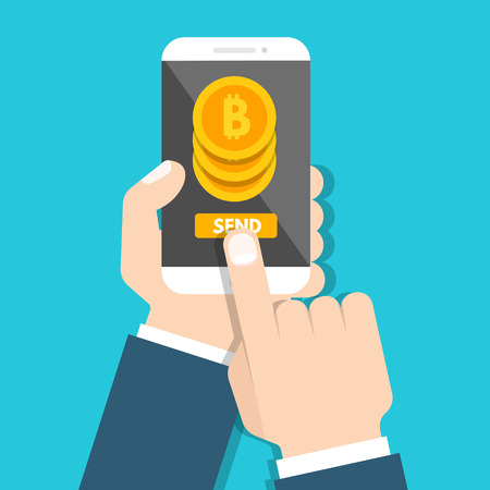 Peer to peer payments. Smartphone transfer money.  Cryptocurrency Transaction. Vector illustration.  Illustration