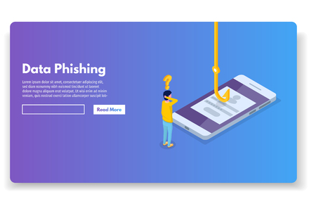 Data phishing isometric, hacking online scam. Fishing by email, envelope and hook. Cyber thief. Vector illustration. Illustration