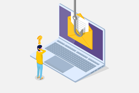 Data phishing isometric, hacking online scam on laptop concept. Fishing by email, envelope and fishing hook. Cyber thief. Vector illustration.