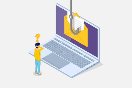 Dati phishing isometrico, hacking truffa online sul concetto di laptop. Pesca tramite e-mail, busta e amo da pesca. Ladro informatico. Illustrazione vettoriale.