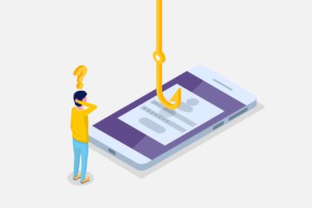 Data phishing isometric, hacking online scam on smartphone concept. Fishing by email, envelope and fishing hook. Cyber thief. Vector illustration. Illustration
