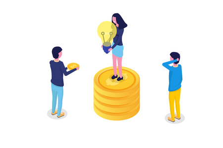 Crowdfunding isometric concept  with people. Vector illustration. Illustration