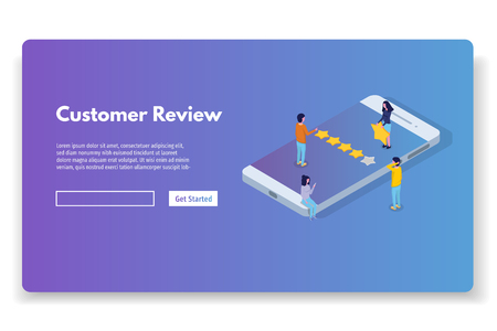 Kundenbewertung, Bewertung der Benutzerfreundlichkeit, Feedback, isometrisches Konzept des Bewertungssystems. Vektorillustration