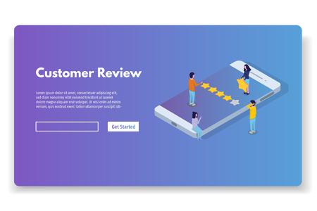 Revisión del cliente, evaluación de usabilidad, retroalimentación, concepto isométrico del sistema de calificación. Ilustración vectorial