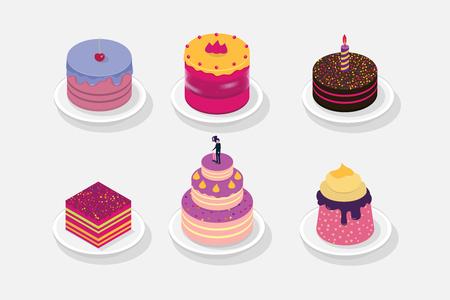 Sweet Cake isometric 3D icon. Vector illustration