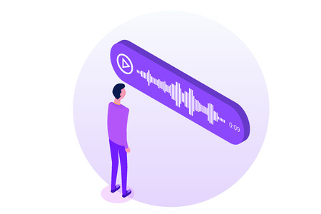 Voice Messages Isometric, event notification. Vector illustration