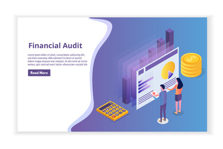 Financial administration, examiner, audit isometric concept with characters. Company tax and account.