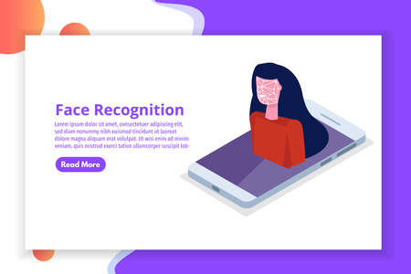Face recognition isometric concept. Biometric identification. Vector illustration Vettoriali