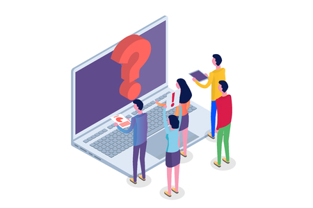 Internet forum, communicating people, society isometric concept. Vector illustration