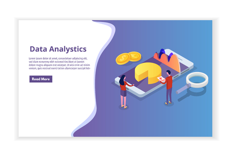 Data analysis, search engine optimization,  site position isometric concept. Landing page template. Vector illustration. Иллюстрация