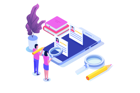 Freelancers service isometric concept with text place. Landing page template. Stock Illustratie