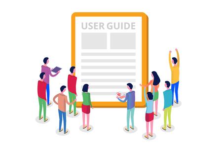 Manual de usuario, guía, instrucción, guía, concepto isométrico del manual. Ilustración vectorial.