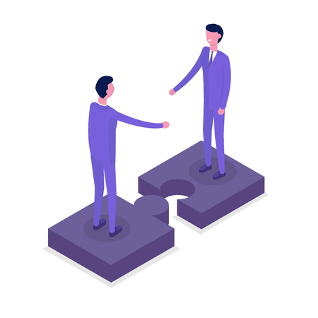 Business people isometric characters, colleague. Teamwork and partnership concept. Flat isometric vector illustration isolated on white background.