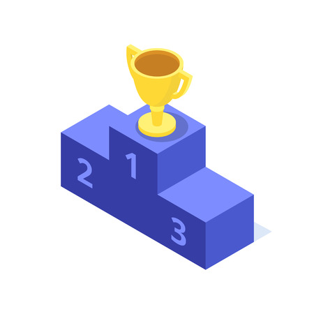The golden cup stands on the top step of the pedestal, isometric image Illustration